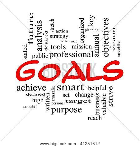 Goals Word Cloud Concept In Red And Black