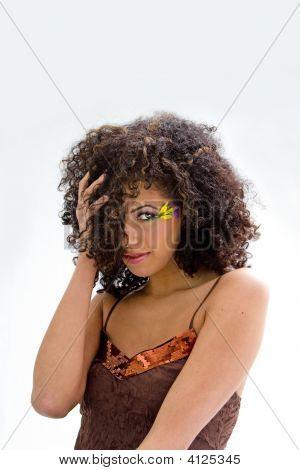 Brunette With Flower Makeup