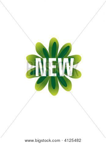 Green Retro Flower New Vector Button Icon Symbol