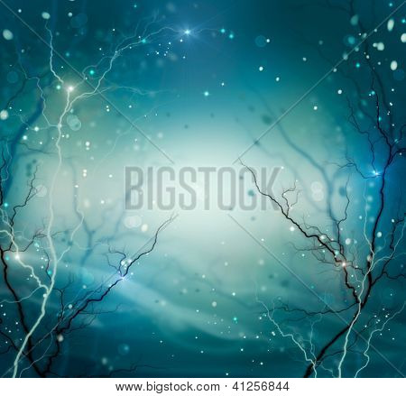 Winter Nature Abstract Background. Fantasy Backdrop with Copyspace. Night. Dark. Snow and Stars