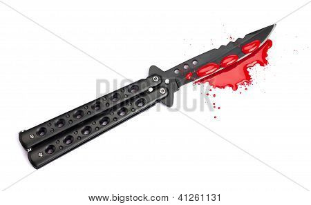 Blood Covered Butterfly Knife