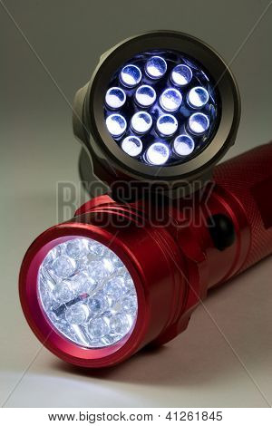 Two LED Flashlights - Turned On