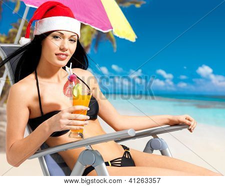 Woman Celebrating The New Year At The Beach