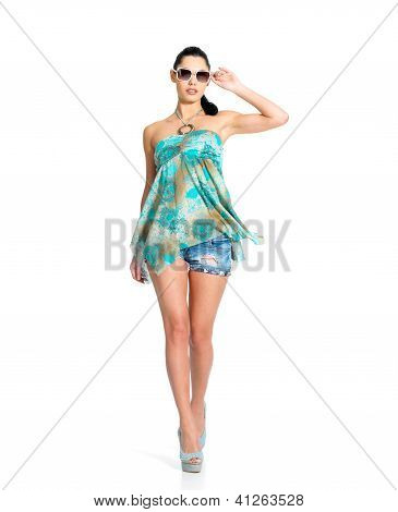 Fashion Woman In Green Dress Isolated