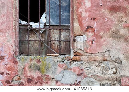 Window of  derelict warehouse, Italian Architecture - Emilia Romagna