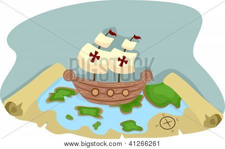 Illustration of Pirate Ship and Pirate Treasure Map