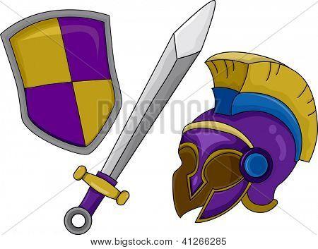 Illustration of Gladiator Helmet Shield and Sword