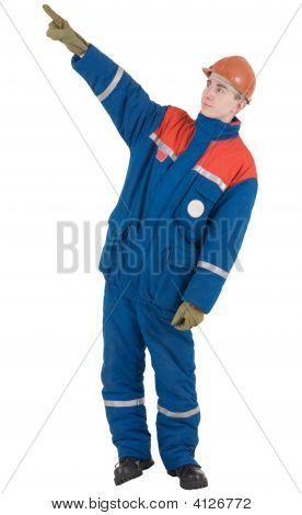 Man In Overalls And Helmet