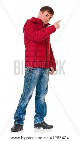 Portrait of a young man dressed with winter clothes isolated on white background