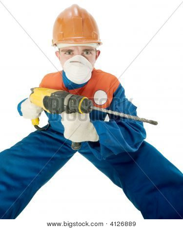 Labourer With Hand Drill