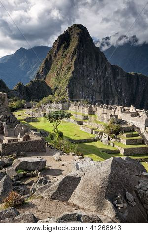 Eastern urban sector and Huayna Picchu mountain, Machu Picchu, Sacred Valley,Peru
