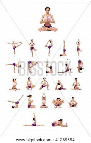 Practicing Yoga Set. Young Woman