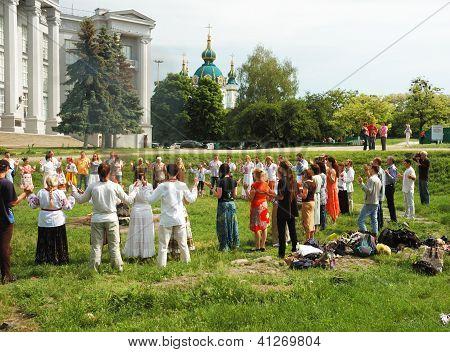 Ukrainian pagan people are praying to Perungod of Thunder in Slavic mythology,Kiev,Ukraine