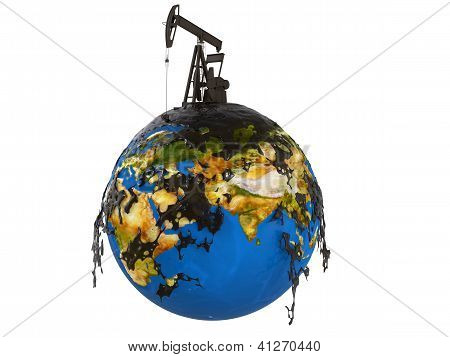 Pump Jack And Oil Spill Over Planet Earth