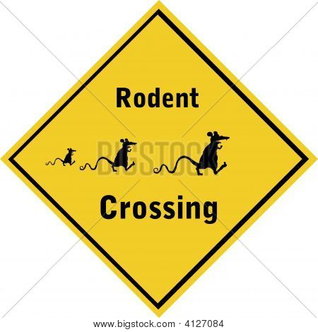 road sign rodent crossing