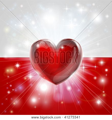 Love Poland Flag Heart Background