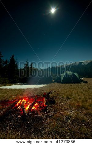 Fireplace During Rest Near Tent At Night