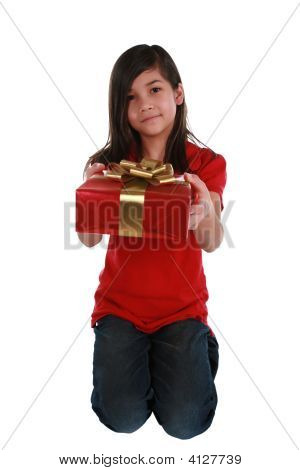 Little Girl Holding Present