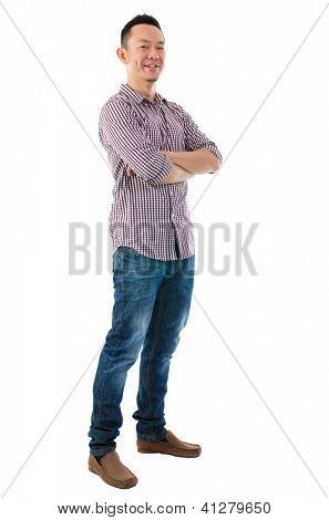Confident full body Asian man standing  isolated on white background