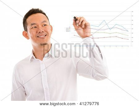 Asian male in white shirt writing something on glass board with marker
