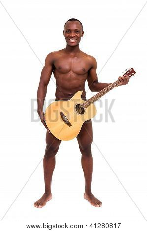 Happy Handsome Man With A Guitar