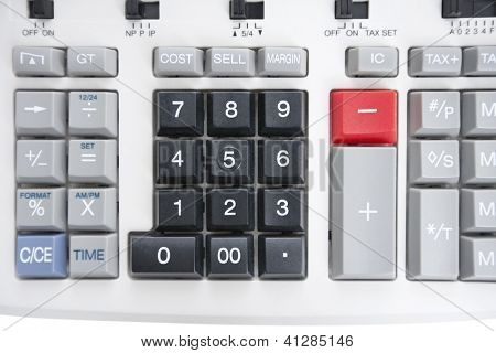 Close-up of pushbuttons of calculator