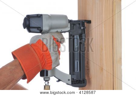 Construction Worker And Nail Gun