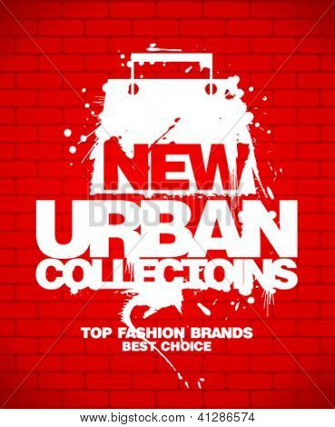 New urban collections design template with shopping bag.