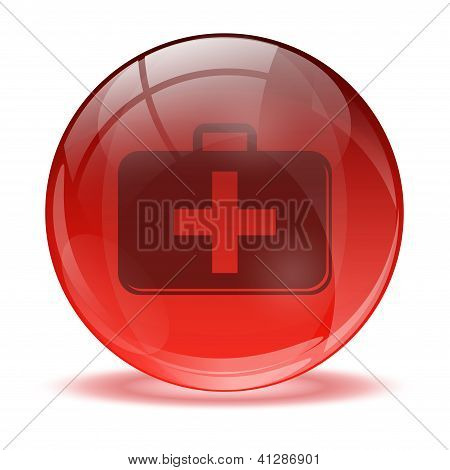 3D Glass Sphere Medkit Icon