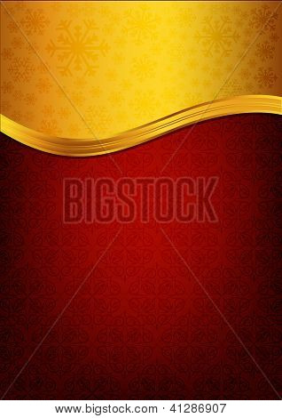Abstract Red Background And Golden Label
