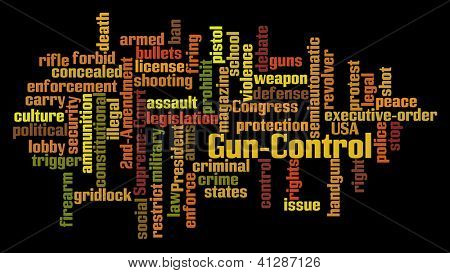 Gun Control Word Cloud on Black Background