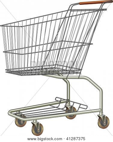 Common shopping cart from stainless steel. Raster. Check my portfolio for a vector version.