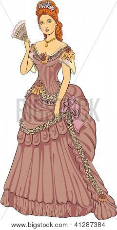 Young beautiful lady in victorian fashioned dress. Raster. Check my portfolio for a vector version.