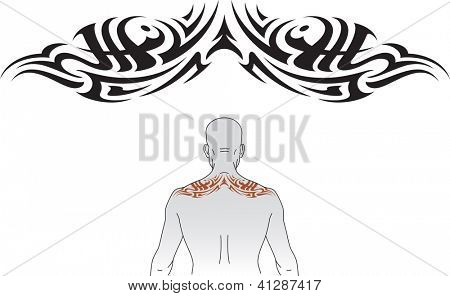 Tribal styled tattoo pattern fit for an upper back. Raster. Check my portfolio for a vector version.