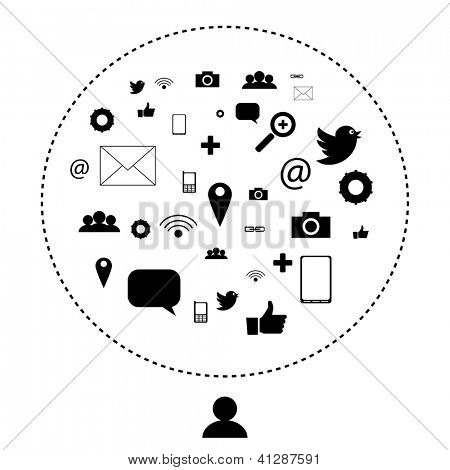 Social network and media icons, pictograms | EPS10 Editable Vector Background