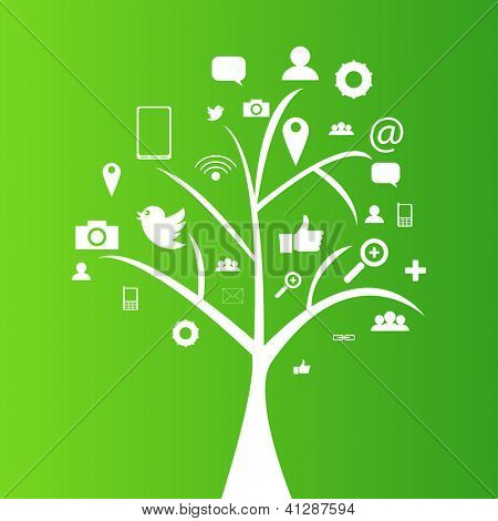 Social network tree with media icons, pictograms | EPS10 Editable Vector Background