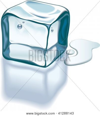 Ice cube is melting on a glass surface. Raster. Check my portfolio for a vector version.