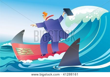 Businessman is surfing on a chip card between big sharks. Raster image. Find a vector version in my portfolio.