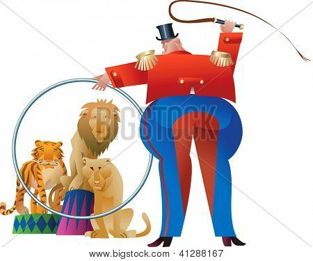 Tamer is making wild beasts jump through his ring. Raster image. Find a vector version in my portfolio.