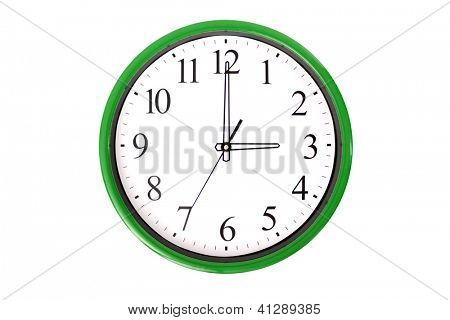 A clock from a serie showing 3 o'clock. Isolated on a white background.