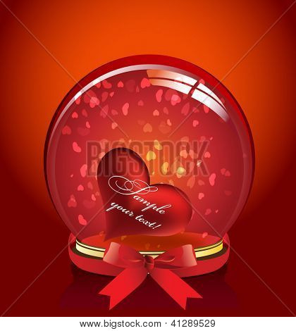 Crystal Ball with red ribbon and heart inside. valentine's day.