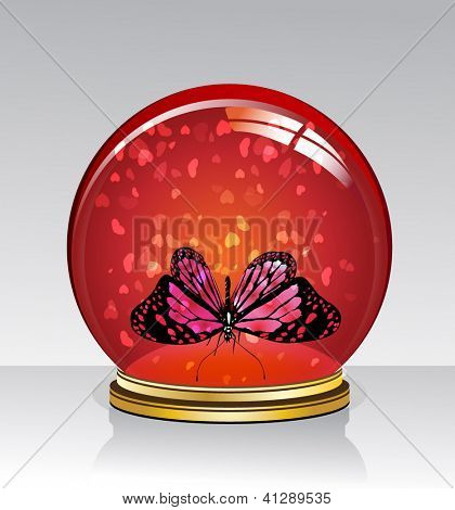 Crystal Ball with a butterfly inside. valentine's day