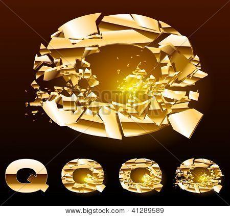 A vector letters set of a broken golden alphabet. Symbol q