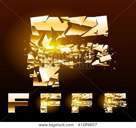 A vector letters set of a broken golden alphabet. Symbol f