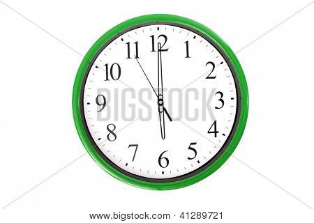 A clock from a serie showing 6 o'clock. Isolated on a white background.