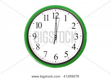 A clock of a serie showing 12 o'clock. Isolated on a white background.