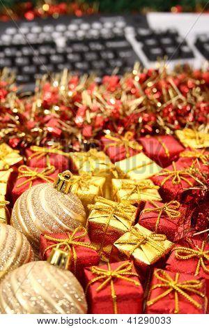 Christmas ornament and keyboard scene.
