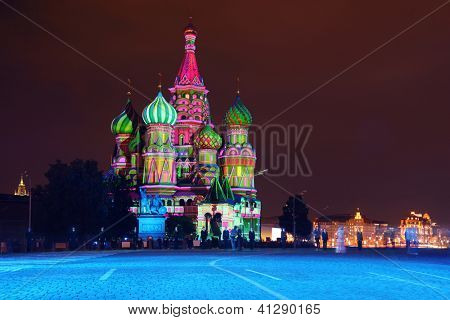 Illuminated St. Basil Cathedral at night in Red Square in Moscow, Russia.