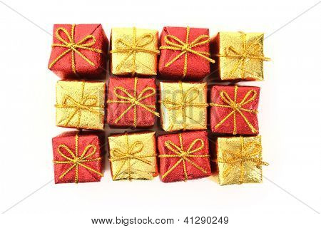 Gifts top view isolated on white background.
