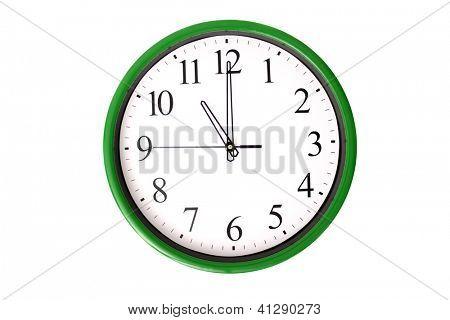 Eine Uhr von einer Serie 11 anzeigen. Isoliert auf weißem Hintergrund.
